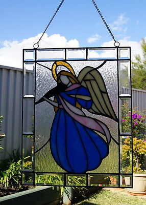 Amazing Stained Glass Angel Playing Violin figurine Wall Hanging,Suncatchers