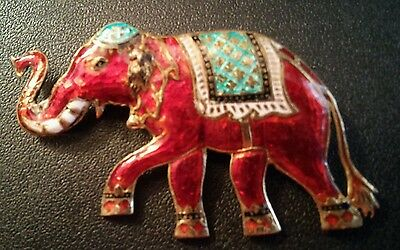 Vintage Thailand Sterling Silver Neillo Enameled Elephant Brooch Pin RED 2.25""