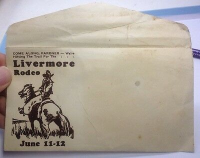Orig. 1920's LIVERMORE RODEO of California Advertising Envelope w/ COWBOY Riding