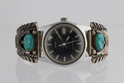Old Vintage 70's Native American Sterling Silver Turquoise Stone Watch