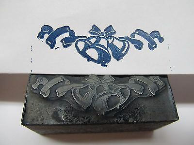 Letterpress Printers Print Block Printing Plate ~ BELLS ~ Wedding / Christmas