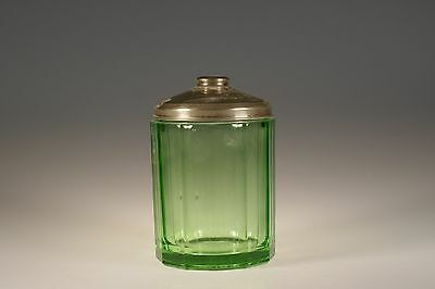 Vintage Deco New Martinsville Glass Green Humidor with Chrome Lid c.1930