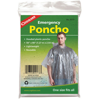 Coghlan's Lightweight Reusable Plastic Hooded Emergency Poncho - Clear