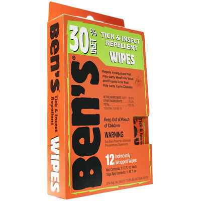 Ben's 30% DEET Fragrance-Free Tick and Insect Repellent Wipes - 12 Pack