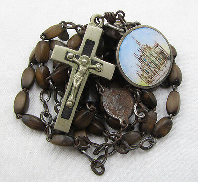 † LATE c1800s ANTIQUE ENAMELED MEDAL & EBONY CRUCIFIX WOOD FRENCH ROSARY W TAG †