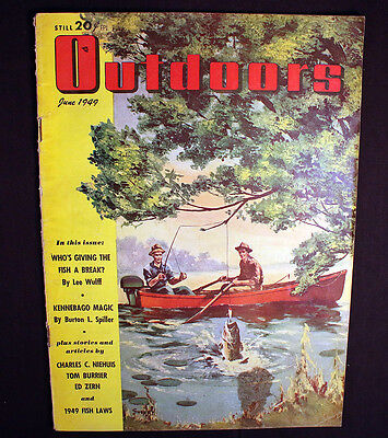 Vintage Outdoors June 1949 Fishing Laws Sporting Dogs Kennebago Great Ads Cover