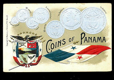 """1908 """"Coins of Panama"""" Postcard: Silver-Embossed w/Flag & Shield"""