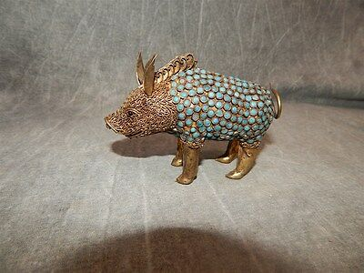 Chinese Tibetan Gilded Metal Pig with turquoise glass or Stone decoration