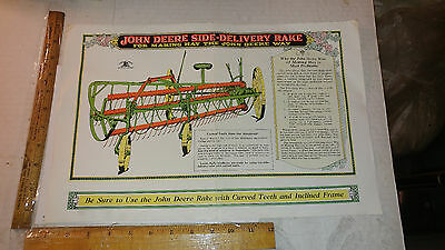 1930 John Deere Side-Delivery Rake Diagram Great graphics and colors!