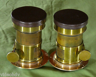 GIANT EXTREMELY RARE MARION & Cie No. 101 STEREO PAIR BRASS LENSES c. 1860