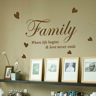 Family Where Life Begins Love Heart Art Wall Quote Stickers Wall Decals 32