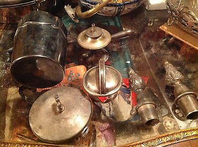 lot of silverplate odds&ends.covers,lids,heater,mixed quality and conditions