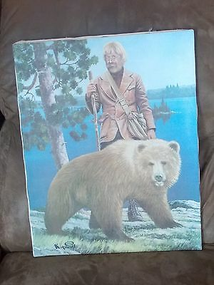 "Vintage 1974 Roy Kerswill Hamm's Beer Man And Bear Litho In USA No Frame HAMM""S"