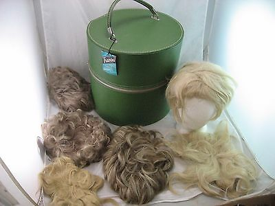 Wig Hat Box Green Travins Round Zipper Vintage LOT, MADE IN ROSELLE NJ. USA