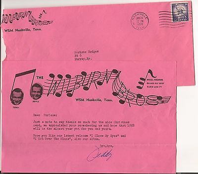 1958 WILBURN BROTHERS Letter with envelope Nice Stationary
