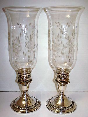 2 International Silver Co Sterling Candle Holders W/ Cut Glass Hurricane Shades