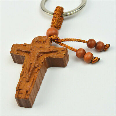 Religious Brown Wooden Bead and Cross With Jesus Keyring for Good Luck
