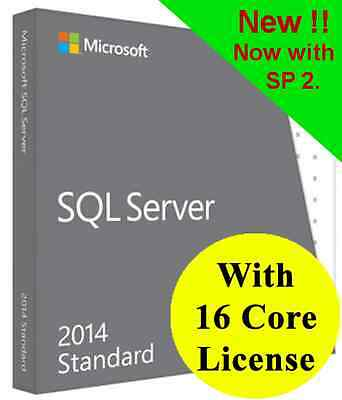 SQL Server 2014 Standard with 16 Core License, 64-Bit. New, improved SP2 Version