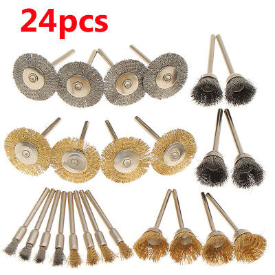 24Pcs Stainless Steel/Brass Wire Brush Polishing Wheels Set Kit For Rotary Tool