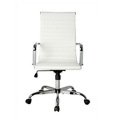 Ergonomic Ribbed High Back Executive PU Leather White Computer Desk Office Chair
