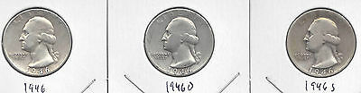 1946 P, D, & S Washington Quarters. Avg circulated U.S. 90% Silver Coins