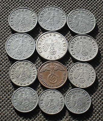 Lot Of Twelve Nazi Germany Coins From World War Ii With Swastika - Mix 81