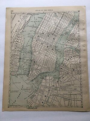 Antique Map, NYC and Philadelphia, 1890 Rand McNally New Standard Atlas of