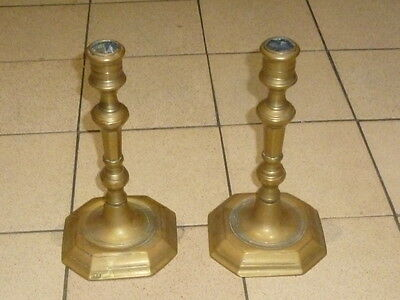A Pair of Antique Bronze/Brass? Candlesticks early 19th Century
