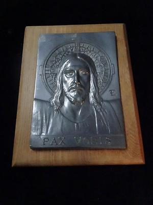 Antique French Pax Vobis Christ Plaque on Mahogony, A. Peppard ed.