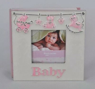 Baby Girl Gift Hancrafted Photo Album. Solid Shell Inlaid Cover with 3D Charms