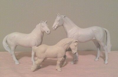 Schleich CollectA Ertl Horses White & Unpainted For Custom Or Play!