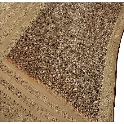 Sanskriti Vintage Sari Woven 100% Pure Satin Silk Fabric Saree Brocade Brown