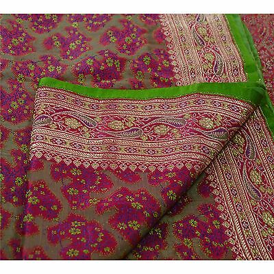 Sanskriti Vintage Sari Woven 100% Pure Satin Silk Fabric Saree Brocade Pink