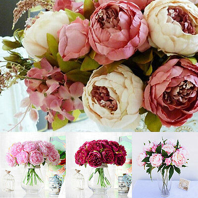 1 Bouquet 12 Heads Artificial Peony Silk Flower Leaf Home Wedding Party Decor