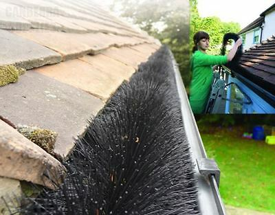 2 x 4M ORIGINAL 100MM HEDGEHOG LEAF GUARD GUTTER BRUSH FILTER BLACK 8M IN TOTAL