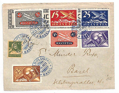 AR245 1923 SWITZERLAND Airmail *MILITAR-FLUGTAG*Special BLUE Cancels Cover Basle