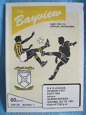 91/92 EAST FIFE v ALBION ROVERS - DIVISION 2 - EXC