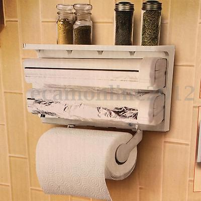 3 In 1 Kitchen Towel Roll Dispenser Cling Film Tin Foil Holder Rack Wall Mounted