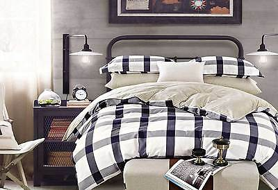 100% COTTON Trapez Grey Quilt cover king size doona Cover & pillowcases 3pc set
