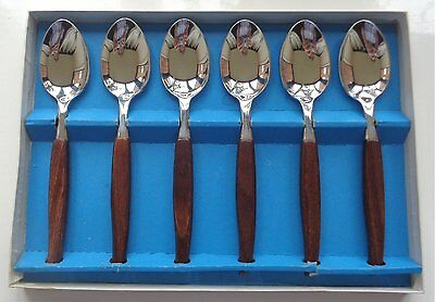 FIRTH STAYBRITE 1960s BOXED SET OF 6 TEAK-HANDLED STAINLESS STEEL DESSERT SPOONS
