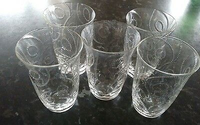 five vintage very delicacate glass tumbers
