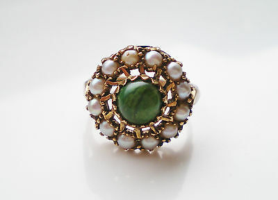Fine Vintage 9ct Gold Green Turquoise & Pearl Cluster Ring HM 1966; UK Size 'J'