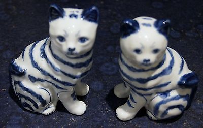 Pair of Blue & White Ceramic Cats