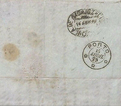 AA113 1879 GB PORTUGAL MAIL London *EC/53* Cover Note RAILWAY TRANSIT OVAL Rare