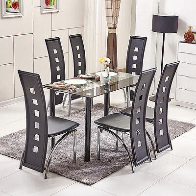 Diningroom Set Glass Dining Table High Back PU Leather Dining Chairs  Metal Legs