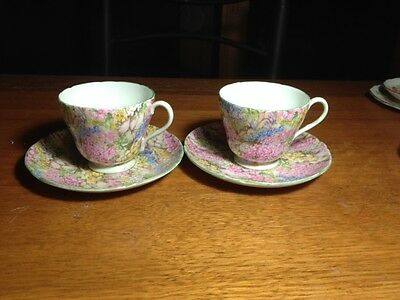 """Shelley """"Rock Garden"""" cup and saucer x 2"""