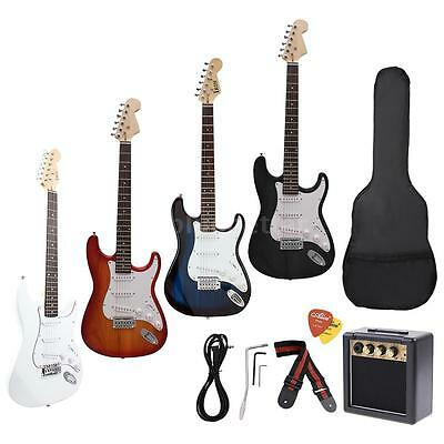 Full Size ST Electric Guitar+3 Watt Amp+Gig Bag Guitar Strap Beginners New T2B4