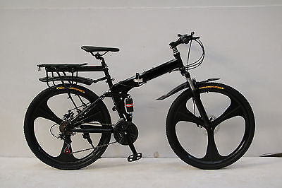 "26"" Folding Mountain Bike Bicycle Black Shimano 21 Speed Magnesium Alloy Wheel"