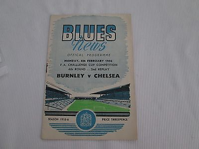 1955-56 FA CUP 4TH ROUND  2ND REPLAY BURNLEY v CHELSEA