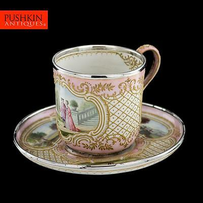 ANTIQUE 19thC FRENCH SOLID SILVER & HAND PAINTED ENAMEL CUP & SAUCER c.1890